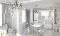 Дизайн-проект  3-х комнатной квартиры Морозные узоры в ж/к Эдельвейс. Неоклассика, воздушный декор, серебро.