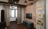 Дизайн гостиной-кабинета в стиле Лофт