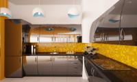 Кухня в двухуровневой квартире в г.Сочи