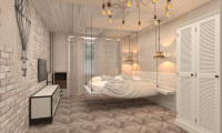 Дизайн спальни в стиле Лофт в квартире на ул. Полярная