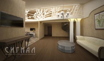 Гостиная в двухуровневой квартире