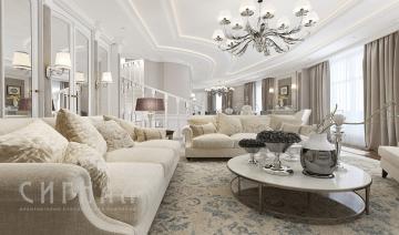 Гостиная в неоклассическом стиле в квартире на ул. Авиационная